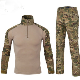 Camouflage Combat suit online shopping - tactical Camouflage CS Uniform Clothes Suit Men outdoor game Hunting US Army clothes Combat Shirt Pants