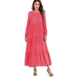 51c1d52460e Korean Fashion Polka Dot Print Vintage Dress Women Long Sleeve Gowns Beach Boho  Dresses Plus Size 5xl 3xl Maxi Long Dress Ruffle