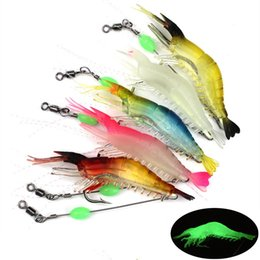 shrimp luminous soft lures 2019 - Mixed 5 Color 9cm 5.5g Luminous Shrimp Hooks Fishhooks Single Hook Soft Baits & Lures Artificial Bait Fishing Tackle Acc