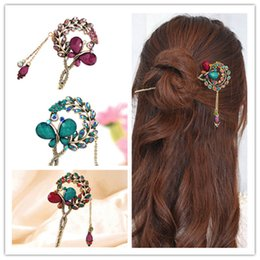 $enCountryForm.capitalKeyWord NZ - Women Lady Retro Crystal Butterfly Flower Chinese Hairpin Stick Hair Clip C19010501