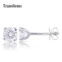 8eec81082 Transgems 14k 585 White Gold 1ctw 5mm 0.5 Carat Moissanite Diamond Stud  Earrings For Women Screw Back Earrings For Women Y19061203