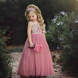 $enCountryForm.capitalKeyWord Australia - Sweet floral costume clothing princess girls pink flower Tutu dresses christening dress wedding party parade children girls prom dress