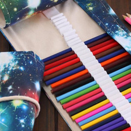 roll ups stationery Australia - 36 48 72 Hole Galaxy Of The Universe Painting Pencil Case Stationery Canvas Pen Roll Up Bag Art Curtain Color Pencils Storage