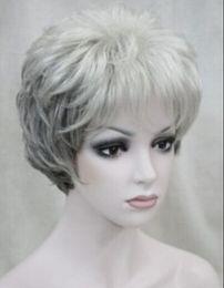 $enCountryForm.capitalKeyWord Australia - WIG LL<<< 002584 New light grey to dark gray short curly wavy synthetic women's wig for everyday
