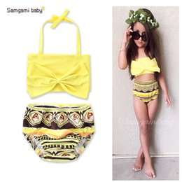 Swimwear Infant Australia - Samgami Baby Two-piece Bikini Swimwear Big Bow Infant Toddler Girls' Bathing Yellow Geometric Printed Sling Swimsuits