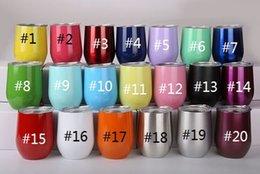 Toptan satış Kapak Kahve Kupalar Bira Bardağı Su Şişesi Parti Bar Drinkware ile 12oz Yumurta Bardaklar Paslanmaz Çelik Şarap Cam Çift katlı Vakum tumblers