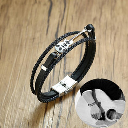 Wholesale Men s Guitar Bracelet Black Triple Woven Leather Bracelets Music Teacher or Music Lover Gifts Jewelry Mens Accessories