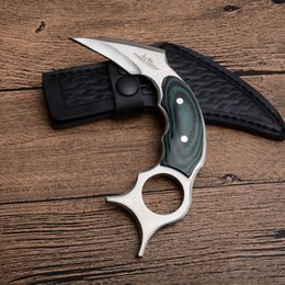 micarta handle 2019 - United Karambit 440C Satin Blade Full Tang Micarta Handle Fixed Blade Claw Knives Tactical Knife With Leather Sheath