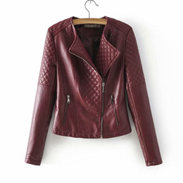$enCountryForm.capitalKeyWord Australia - 2019 autumn new women's diamond shape slim slimming PU leather motorcycle jacket short jacket female Pink black wine red