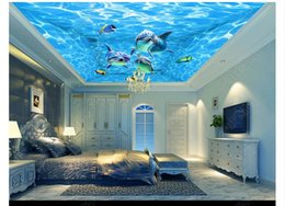 wallpaper patterns Australia - 3D ceiling large custom photo zenith mural wallpaper Beautiful blue water pattern ocean dolphin theme children's room zenith ceiling mural