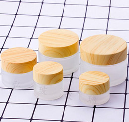 cosmetic glasses Australia - Cosmetic Containers jars 5g 10g 15g 30g 50g 100g Frosted Glass Jars Cream Bottles With Wood Grain Cover