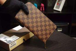 men long zip wallets 2019 - Large Zippy Organizer Zip Wallet N60003 Damier Canvas Men Wallet Oxidized Leather Clutches Evening Long Chain Wallets Co