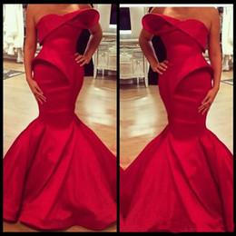 Red Satin Dress Design Australia - 2019 Fashionable Saudi Arabian Design Red Sweetheart Mermaid Satin Floor Length Sleeveless Ruffles Prom Dresses Custom Made Evening Gowns