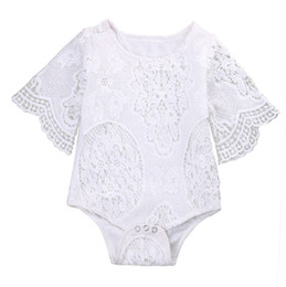 white lace shorts outfits UK - INS Baby Rompers White Lace Baby Girls Jumpsuits Hollow Newborn Outfits Ruffle Sleeve Infant Climbing Clothes Summer Kids Clothing DHW2966
