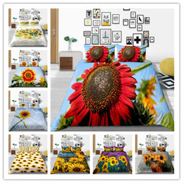 $enCountryForm.capitalKeyWord Australia - 3D High Quality Red Sunflower Design Print Bedding Sets Charming View Duvet Cover Single Double King Size Bed Linen