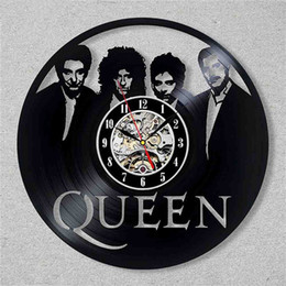 "music wall hangings UK - Vintage Vinyl Record Wall Clock Queen Rock Band 3D Sticker Decoration Music Theme Hanging Clocks Wall Watch Art Home Decor 12"" Y200407"