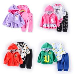 Wholesale Newborn Baby Fleece Coat Romper Pant Set Spring Autumn M6M12M18M24M Long Sleeve Jumpsuit Cotton Multi Colors Mixed sizes