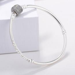 $enCountryForm.capitalKeyWord NZ - 1pcs Factory s925 sterling silver Bracelets Snake Chain Fit pandora charm bead Bracelet Women Children Gift with logo bag