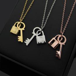 Love Key Lock Pendant Australia - 316L Titanium Heart Double Pendant Key lock Women's Necklace 3 Colors 18K Titanium Rose Gold And Silver Necklace Women's Holiday Gift