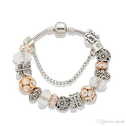 $enCountryForm.capitalKeyWord Australia - 17 to 21CM Charm Bracelet 925 Silver For Women 18K Rose gold Bracelet White Crystal Beads Jewelry with custom logo