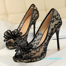 bridal peep toe heels NZ - Peep Toe Women Pumps Lace Classic Pumps Mesh Hollow Female Shoes High Heel Bridal Shoes Bow Chaussure Femme Shallow Women Shoes t03