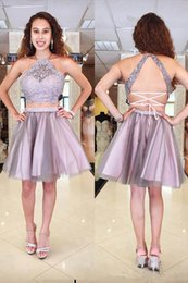 Lilac Homecoming Dresses Australia - Two Pieces Light Purple Homecoming Dresses 2019 Halter Neckline Sleeveless Backless Short A-line Lace Tulle Cocktail Party Dress 63