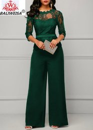 $enCountryForm.capitalKeyWord Australia - Casual Long Sleeve Jumpsuit Women Sexy Lace Patchwork Off Shoulder See Through Solid Overalls Elegant Office Lady Female Body