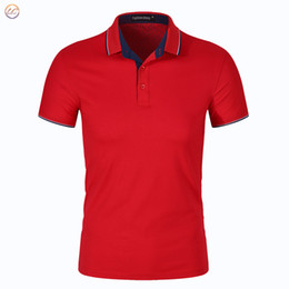 polo red white blue Australia - Summer Mens Polo Shirts Cotton Blue Solid Color For Man's Slim Fit Short Sleeve Clothes Male Wear Brand Clothing New Tops 445