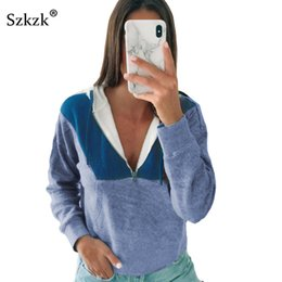block color sweatshirts 2019 - Szkzk Color Block Zip Up Sexy Sweatshirt Women Pullover Fall 2019 Streetwear Long Sleeve Pocket Casual Loose Hooded Swea