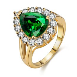 Big gold plated rings online shopping - Hot Jewelry Female love Ring jewelry big green silver exquisiteMicro Square crystal Exquisite Lovers Hand Accessories Factory Direct Sale