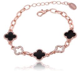Rose Plated Bracelets Australia - Four-leaf Clover Charm Bracelets Crystal Tin Alloy Rose Gold Plated Rhinestone Bracelet Classic Accessory Female Jewelry Prom Gift POTALA056