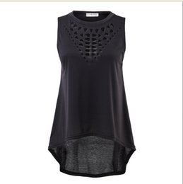 black dress tops UK - Hirigin New Women black Summer Casual Hollow Loose O-neck Vest dress Dovetail Tops T-shirt