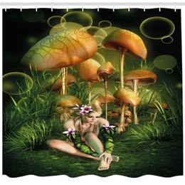 Fairy Bathroom Decor Australia - Mushroom Shower Curtain by, Fairy Woman in Enchanted Forest Elf Pixie Fungus Growth Flowers Grass, Fabric Bathroom Decor Set with Hooks