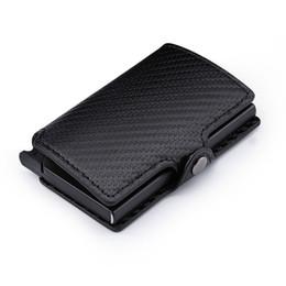 Peaches Fiber Australia - Luxury Carbon Fiber Mini Pop Up Rfid Wallet For Men Slim Leather Business Id Credit Card Pocket Holder Wallet