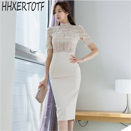 9b9e2950e5 Short Sleeve Lace Crop Top + High Waist Sheath Pencil Bodycon Skirt Women  2019 Summer 2-piece Suits OL Work Wear Set