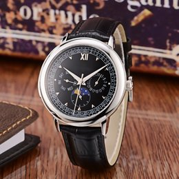 $enCountryForm.capitalKeyWord Australia - Mens Watch Automatic Mechanical Movement Mineral Strengthened Glass Mirror Diameter 42mm 12mm Black Casual Leather Strap Moon Phase Display