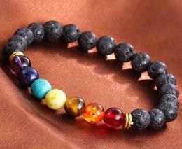 $enCountryForm.capitalKeyWord Australia - Free DHL High Quality Chakra Bracelet Natural Black Lava Stone Bracelets 7 Reiki Chakra Healing Balance Beads Stone Bracelet 8mm