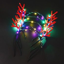 $enCountryForm.capitalKeyWord Australia - Hot LED flashing Light up Beautiful Hair decoration LED Christmas Antlers crown bride hair accessories led wedding party headband colorful