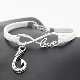 Unisex Simple Bracelet Chain Australia - Handmade White Leather Suede Wrap Bracelets & Bangles Simple Style Infinity Love Fishing Fishhook Hook Me Words Jewelry for Women Men Unisex