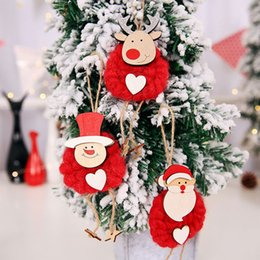$enCountryForm.capitalKeyWord Australia - 3pcs lot Home Decor Xmas Tree Felt Hanging Ornament New Year Gift Christmas Decoration Window Display Fabric Doll Hand Pendant