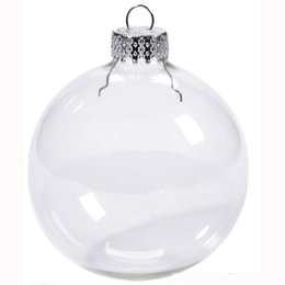 wholesale glass christmas ornament NZ - Wedding Bauble Ornaments Christmas Xmas Glass Balls Decoration 80mm Christmas Balls Clear Glass Wedding balls 3   80mm Christmas Ornaments