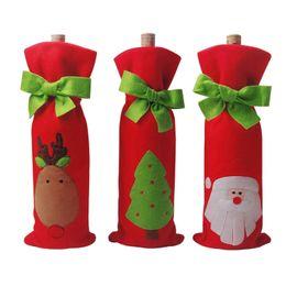 Christmas Kitchen Set Australia - Christmas Wine Bottle Decor set - Santa Claus Deer Bottle Cover Clothes - Christmas Tree Bows with a Merry Christmas Gift Bags - Kitchen Dec