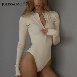 $enCountryForm.capitalKeyWord Australia - JULISSA MO Sexy V Neck Knitted Bodysuit Women Black Long Sleeve Buttons Rompers Womens Jumpsuit 2018 Casual One-pieces Bodysuits T19053103