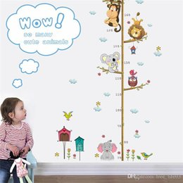Chart Decorations Australia - Lovely Animals on Tree Branch Growth Chart Wall Stickers Kids Room Decoration Children Height Measure Mural Art Diy Home Decals