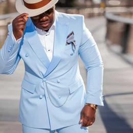$enCountryForm.capitalKeyWord Australia - Slim Fit Men Suits for Wedding Groom Tuxedo Man Prom Suit Peaked Lapel Double Breasted Bridegroom Jacket 2 Pieces (Coat+Pants)Costume Homme