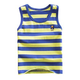 boys 2t sleeveless shirts Canada - Striped Girls Vest Sleeveless Tanks Boys Tops Cotton Kids Vest Camisoles Shirt Underwear