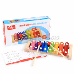 Wholesale Hand Knocks The Xylophone Wood Xylophone Colorful 8 Tones Hand Knock Xylophone with 2 Wooden Mallets --Inspire Children's Talent for Music