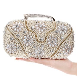 Dgrain Graceful Beaded Satin Evening Purse Pearl Clutch Handbag Wedding  Party Cocktail Crystal Diamond Handbag Bag Prom Bridal Purses c98515eadd89