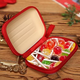 metal line accessories NZ - Christmas Coin Purse Candy Box Cartoon Tinplate Square Bag Headset Data Line Business Card Storage Box Brushed Printing Square