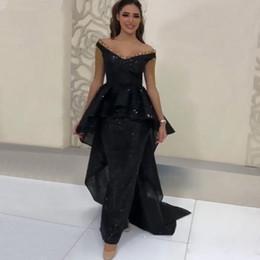celebrity designer dresses images 2019 - Designer Black Mermaid Sequined Evening Dresses Off the Shoulder Beading Abric Dubai Celebrity Gown Sweep Train Red Carp